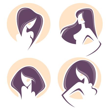 hermosa mujer con pelo largo, emblemas de vector y el logotipo