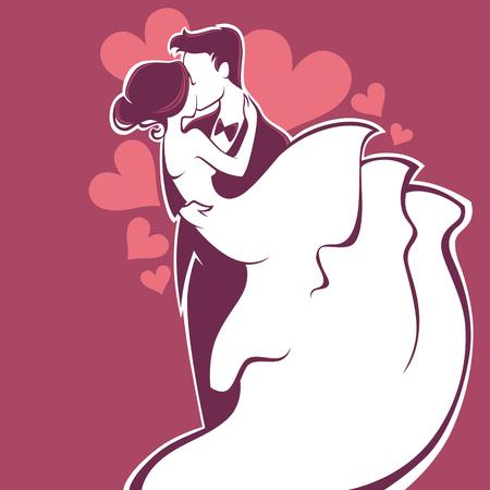 love kiss: bride and groom, wedding card in elegant style