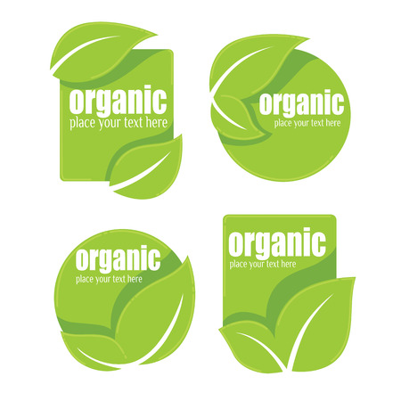 eco notice: vector collection of leaf frames, labels and stickers