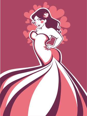 plus size girl: vector greeting card with image of plus size romantic bride