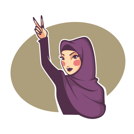 girl with glasses: beautiful face of modern and hipster arabic muslim woman, symbol of peace vector illustration