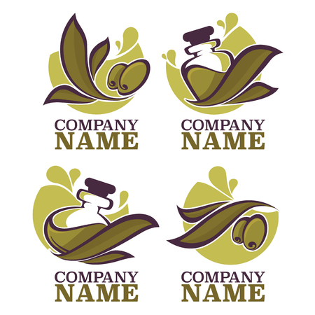 fresh vegetable: olive oil labels, emblems and logo Illustration