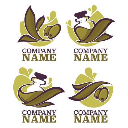 green olive: olive oil labels, emblems and logo Illustration