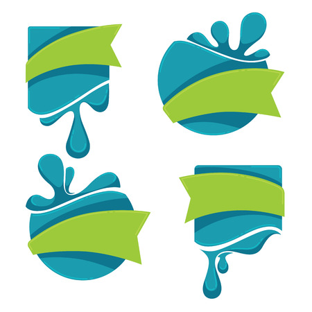wetness: vector collection of water stickers and emblems