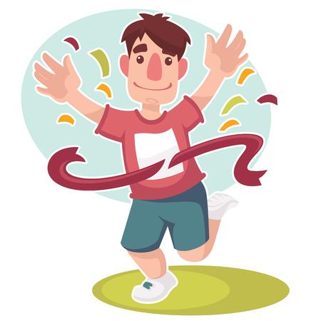 happy runner, vector cartoon character