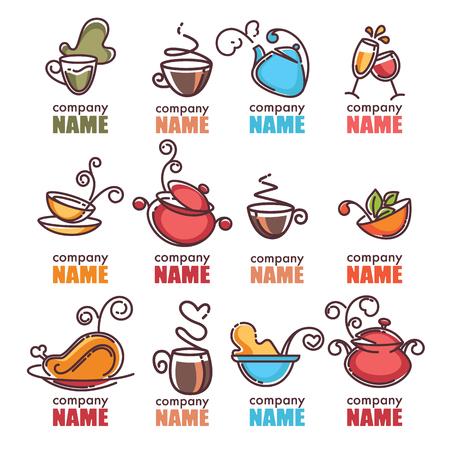 aliments droles: collection de vecteur lin�aire de mat�riel de cuisine et des symboles alimentaires et logo Illustration