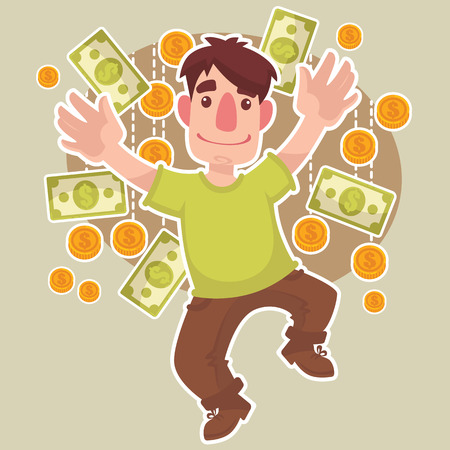 money rain: happy cartoon man and money rain