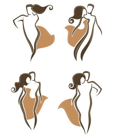exaltation: vector collection of abstract man and woman Illustration