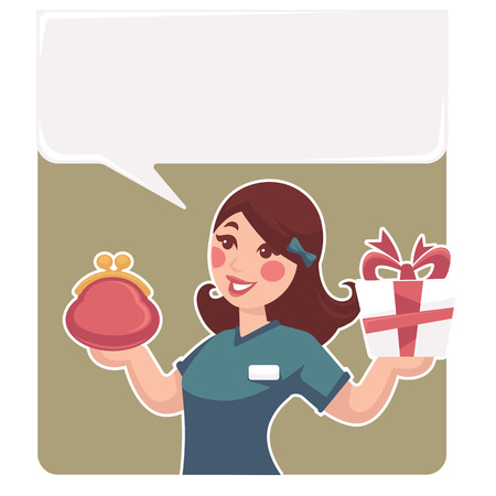 salesperson: take your present funny cartoon woman with gift box