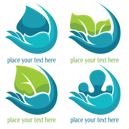 leaf water: drop and leaves vector collection of signs and logodrop and leaves vector collection of signs and logo