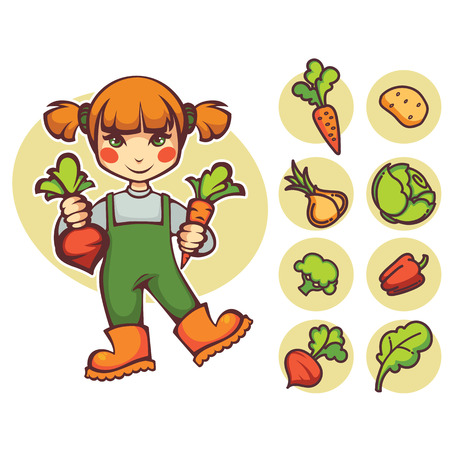 cute cartoon girl: little farm girl and doodle vegetables images