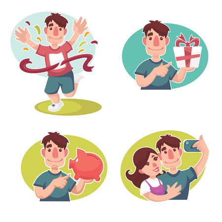 couple embrace: vector cartoon people collection , funny and happy Illustration