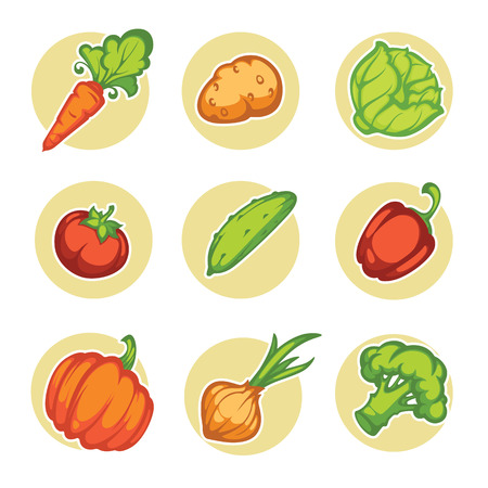 vitamine: vector vegetables icons and emblems Illustration