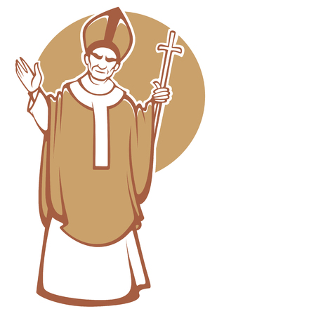 vector illustration of blessing catolic Pope with place for you text