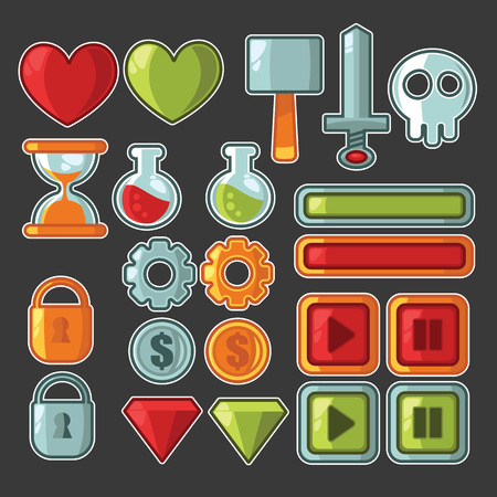 sword and heart: game design elements, icons and objects