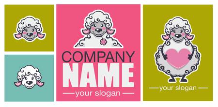 mini farm: lovely cartoion sheep, vector mascot for your company