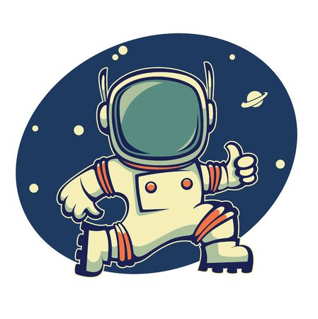 cartoon space: retro austronaut in outer space, cartoon vector  illustration