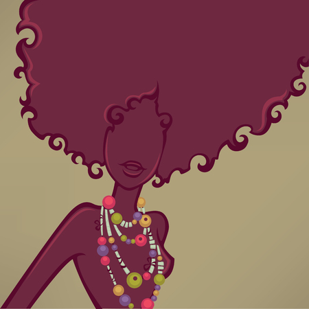 slim body: african girl, vector background witn female silhouette