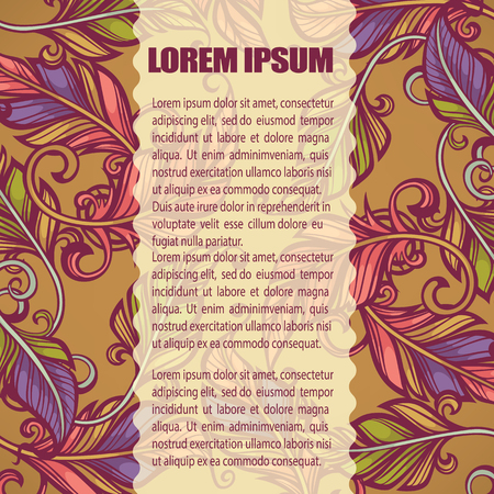 chik: ethnic background with images of birds feathers and place for text