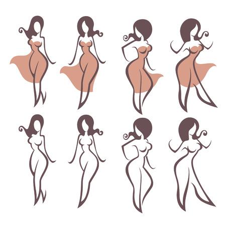 Mädchen und Kleider, Vektor-Sammlung von weiblichen Bilder Standard-Bild - 52532646