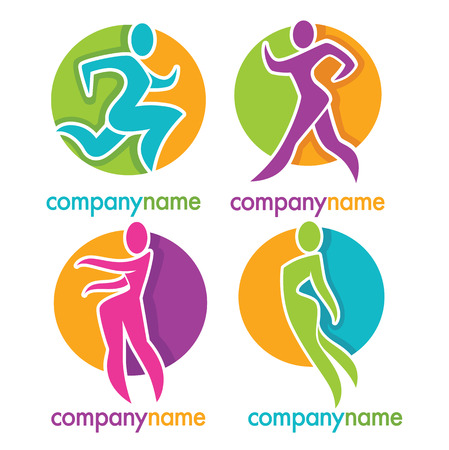 movement: woman fitness, run, jogging, emblem, sticker and logo collection