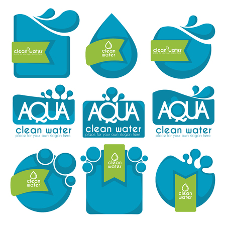 clean and fresh water, stickers, labels, tags and icons vector collection