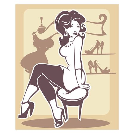 fashionable: I love shopping, vector monochrome illustration in retro style