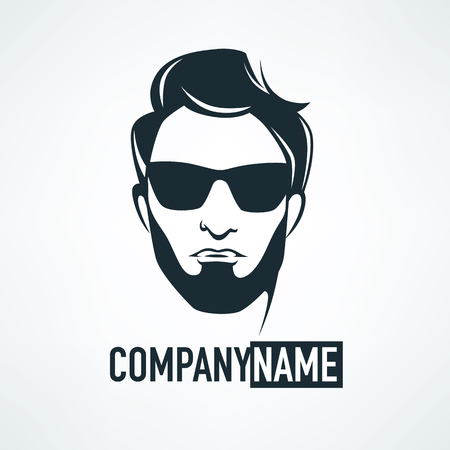 trendy male: fancy, young and fashoin man, logo and emblem in hipster style