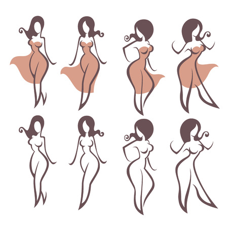 sexy brunette woman: girls and dresses, vector collection of female images