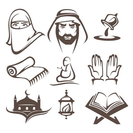 orando: Islam iconos y símbolos, vector logo collectionislam iconos y símbolos logotipo, la recogida de vectores