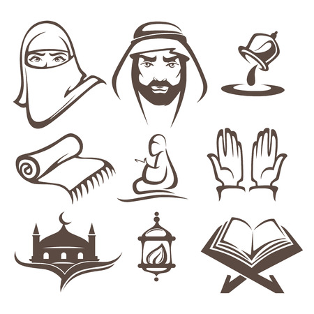 man praying: islam icons symbols and logo, vector collectionislam icons symbols and logo, vector collection