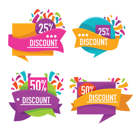 vector collection of bright discount tags, banners and stickers
