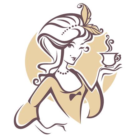 historische vrouw met een kopje thee, logo voor restourant, koffie of thee bedrijf Stock Illustratie