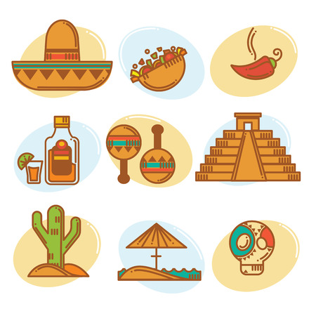 Go to Mexico, vector mexican symbols emblems and icons collection, line art style