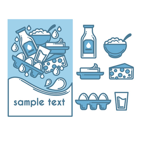 cottage cheese: dairy produce, vector illustration, set of objects in line art style