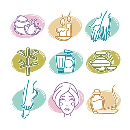 face: iconos de spa naturales, emblemas y símbolos, estilo lineal Vectores