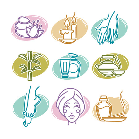 beauty girl pretty: natural spa icons, emblems and symbols, linear style