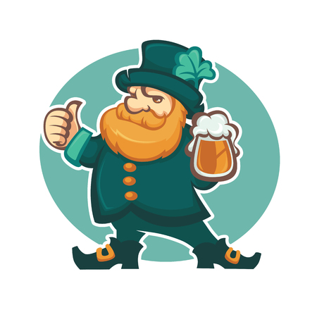 leprechaun hat: cute leprechaun illustration with draft beer for your St. Patricks day Illustration