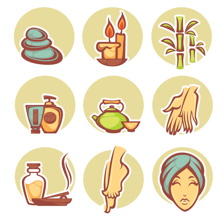 beauty spa: beauty, spa and relax, labels and object set Illustration
