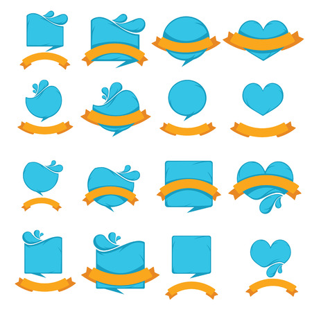 ocean waves: blue stickers and orange flags, water badges collection Illustration