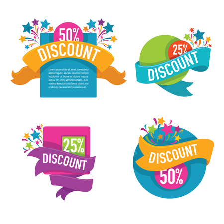 prices: Collection of bright discount tags, banners and stickers Illustration
