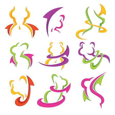 woman, fitness, health, beauty, body and diet emblems set