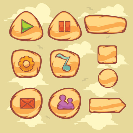 comunity: Set of cartoon object and icons for graphical user interface  to build 2D games