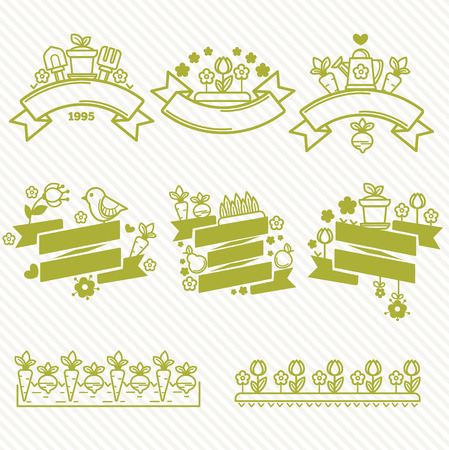 devise: linear and gardening badges and templates collection Illustration