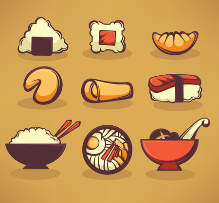 outline fish: Collection of asian food