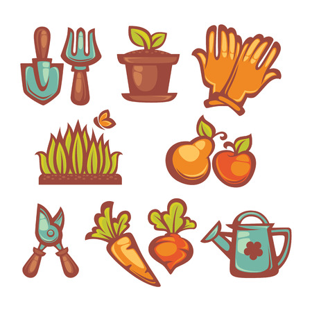 cartoon insect: my little gardening icons and objects Illustration