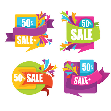 Collection of bright sale tags, banners and stickers