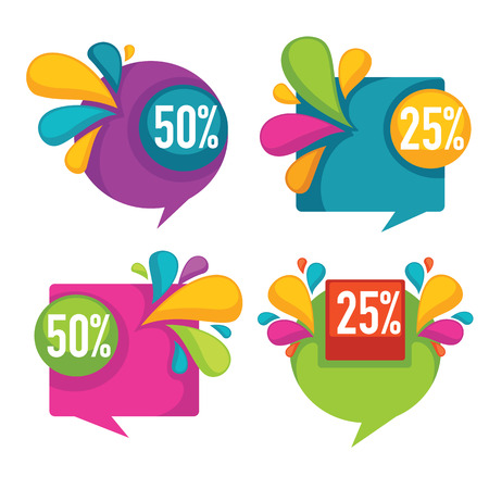 sales promotion: Collection of bright discount bubble tags, banners and stickers