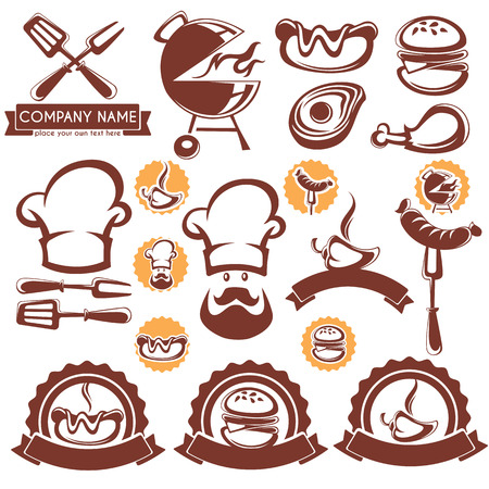 american food: set of BBQ design elements, symbols, object and template Illustration
