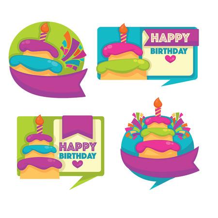 tortas de cumpleaños: Emblemas y pegatinas con imagen de pasteles de cumpleaños, vela y burbujas de discurso Vectores